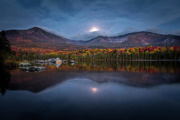 Photograph - Moon Set At Sandy Stream Pond, Baxter State Park by Colin Chase