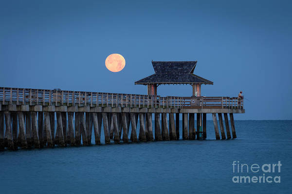 Photograph - Moon-set Over Naples Pier by Brian Jannsen