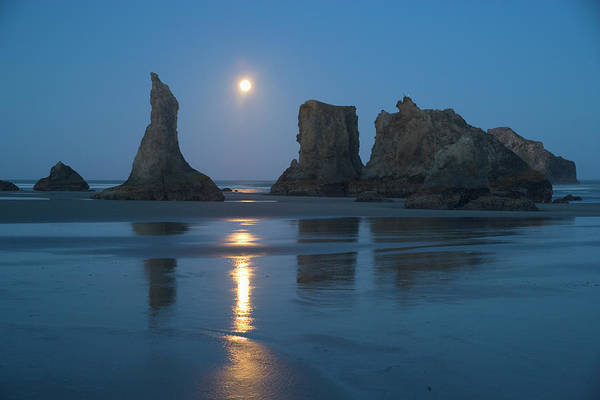Wall Art - Photograph - Moon Setting Over Seastacks At Low by Darrell Gulin