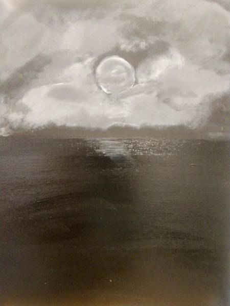 Wall Art - Painting - Moon Shines On The Water by April Clay
