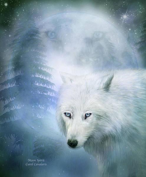 Mixed Media - Moon Spirit 1-white Wolf - Blue  by Carol Cavalaris