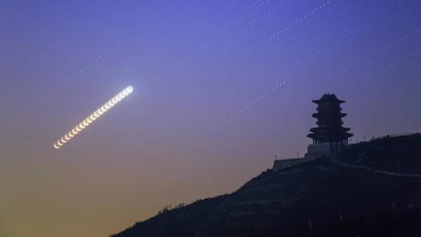 Photograph - Moon Trails Above Wangjing Tower by Jeff Dai