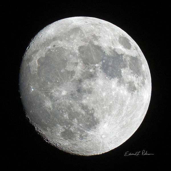 Photograph - Moon Waxing Gibbous by Edward Peterson