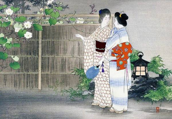 Wall Art - Painting - Moonflower - Top Quality Image Edition by Mizuno Toshikata