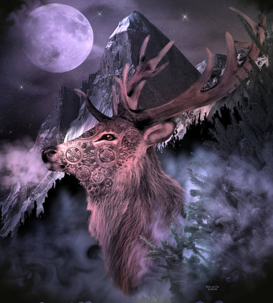 Digital Art - Moonlight Buck by Artful Oasis