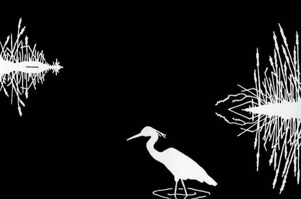 Great Blue Heron Drawing - Moonlight Magic II by Ann Ingerson