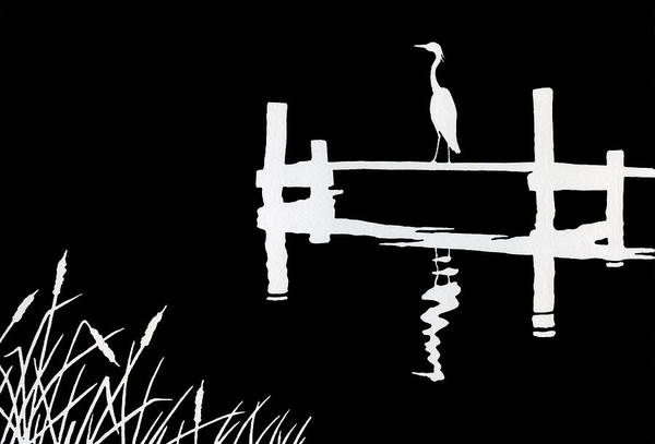 Great Blue Heron Drawing - Moonlight Magic Iv by Ann Ingerson