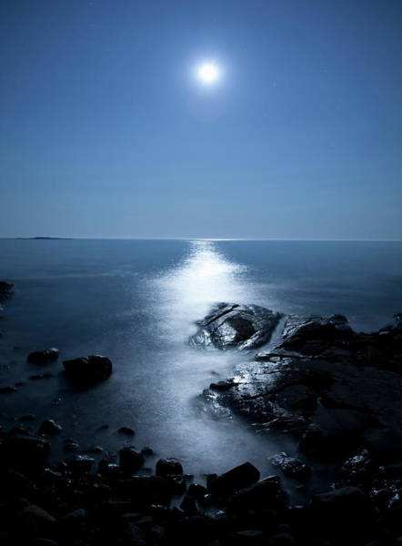 Port Clyde Photograph - Moonlight Reflecting Off Rocks And Water by Michael Duva