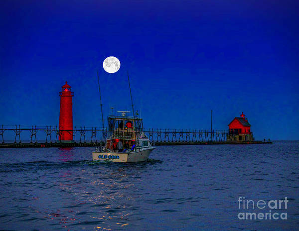 Photograph - Moonlight Sail At Grand Haven by Nick Zelinsky
