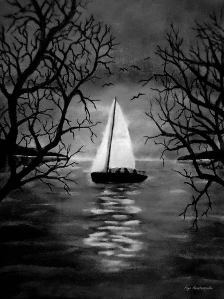 Wall Art - Drawing - Moonlight Sailing by Faye Anastasopoulou