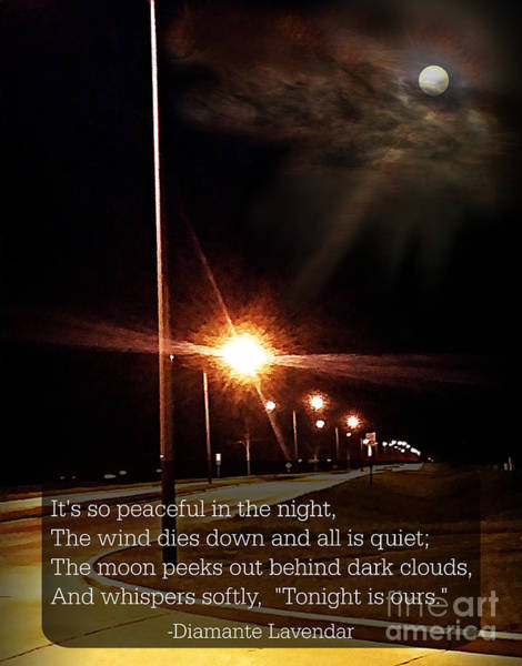 Mixed Media - Moonlight Walk Poem by Diamante Lavendar
