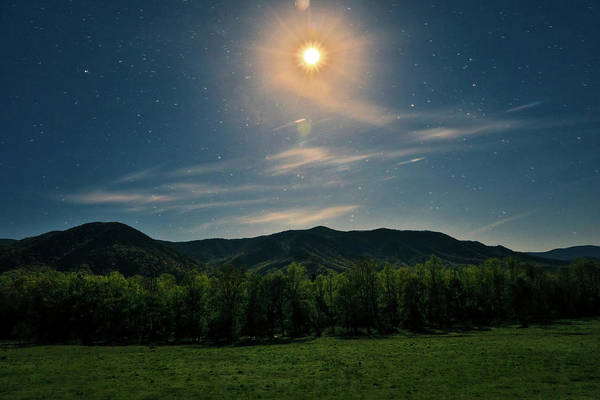 Photograph - Moonlit Landscape Cades Cove by Dan Sproul