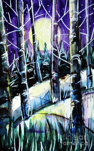Aurora Borealis Painting - Moonlit Magic - - Winterscape Watercolor - Mona Edulesco by Mona Edulesco