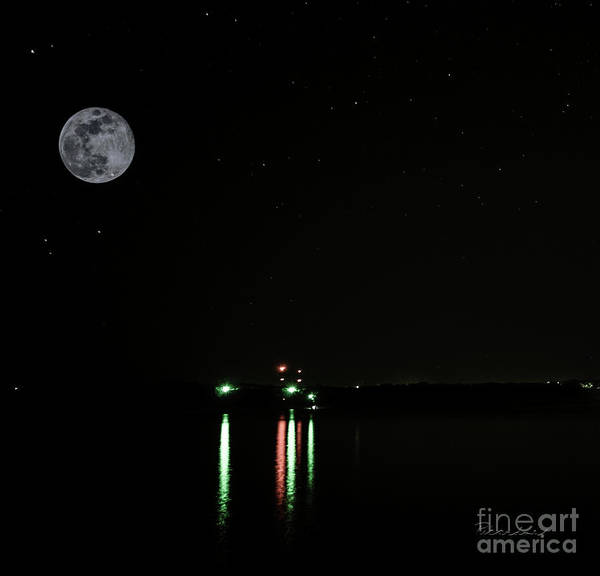 Photograph - Moonlit Medina Lake San Antonio Tx 8364c by Ricardos Creations
