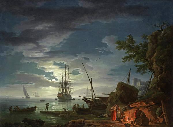 Wall Art - Painting - Moonlit Seascape by Claude-Joseph Vernet