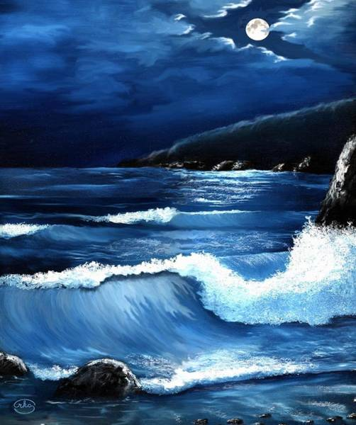 Wall Art - Painting - Moonlit Waves by Ron Chambers