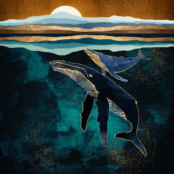 Wall Art - Digital Art - Moonlit Whales by Spacefrog Designs