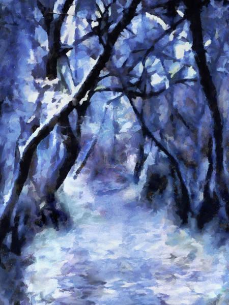 Digital Art - Moonlit Winter Woodpath by Menega Sabidussi