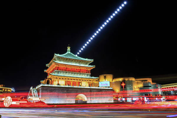 Wall Art - Photograph - Moonrise Above Gulou Tower In Xian by Jeff Dai