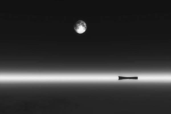 Digital Art - Moonrise And Boat by Jan Keteleer