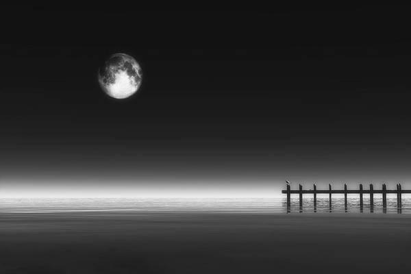 Digital Art - Moonrise And Pier by Jan Keteleer