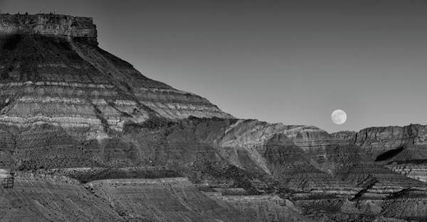 Photograph - Moonrise At Hurricane Mesa - Black And White by Loree Johnson