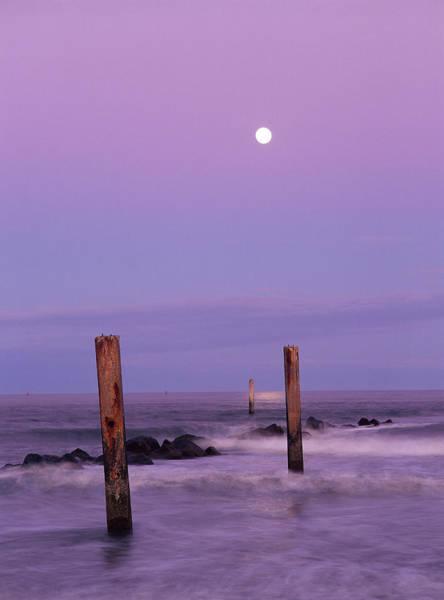 Tybee Island Photograph - Moonrise, Atlantic Ocean, Beach Of by Joseph Shields
