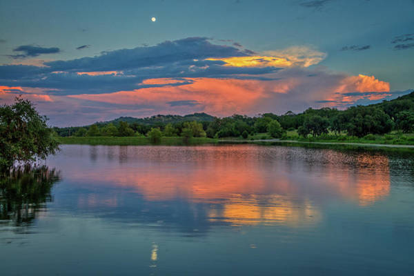 Photograph - Moonrise Glow Over The Lake by Lynn Bauer