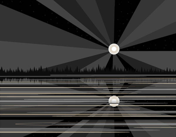 Digital Art - Moonrise In Black And White by Val Arie
