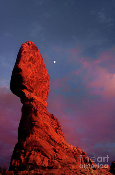 Photograph - Moonrise Over Balanced Rock Arches National Park Utah by Dave Welling