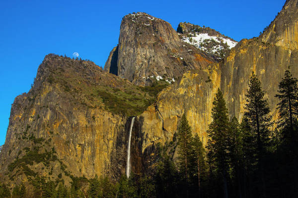 Wall Art - Photograph - Moonrise Over Bridalveil Fall At Sunset by Garry Gay