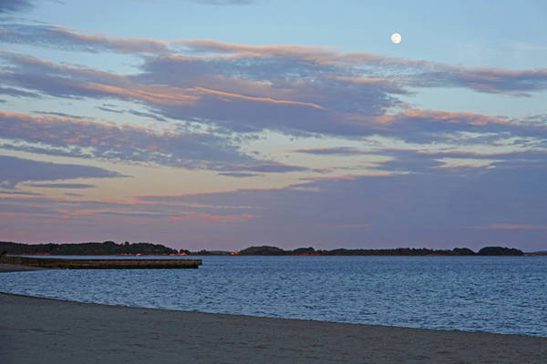 Photograph - Moonrise Over Carson Beach Sunset Boston Ma Castle Island Red Sky by Toby McGuire