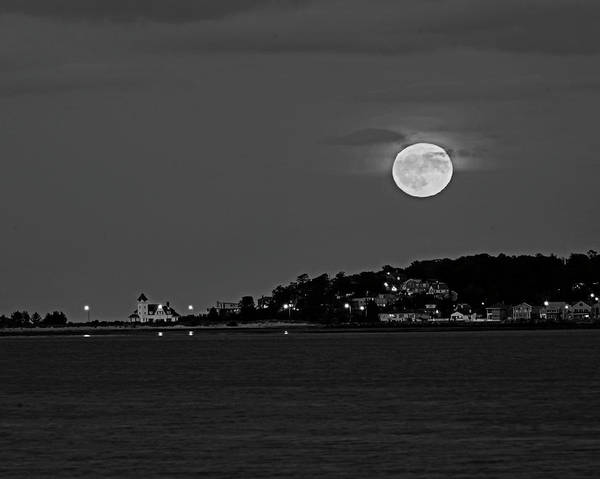 Photograph - Moonrise Over Nahant From Revere Beach Nahant Ma Black And White by Toby McGuire
