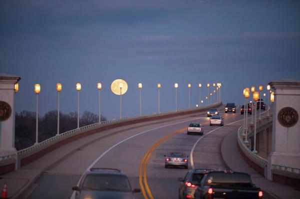 Photograph - Moonrise Over Naval Academy Bridge by Mark Duehmig