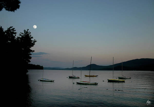 Photograph - Moonrise Over Newfound Lake by Wayne King