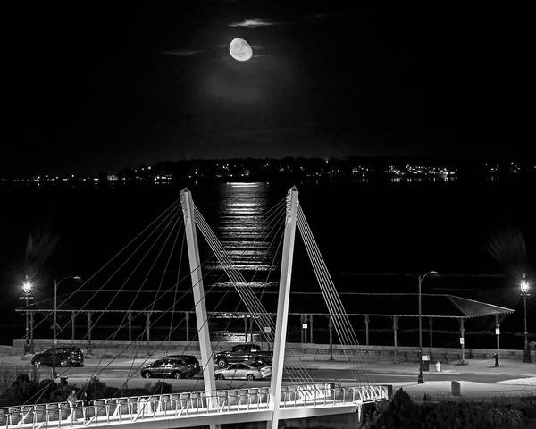 Photograph - Moonrise Over Revere Beach And Nahant Ma Revere Ma Black And White by Toby McGuire