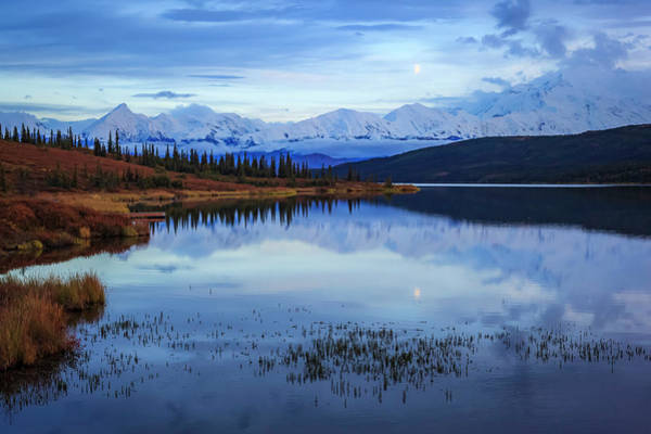 Wall Art - Photograph - Moonrise Over The Alaska Mountain Range by Steve Zmak