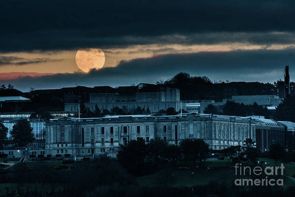 Photograph - Moonrise Over The National Library Of Wales by Keith Morris