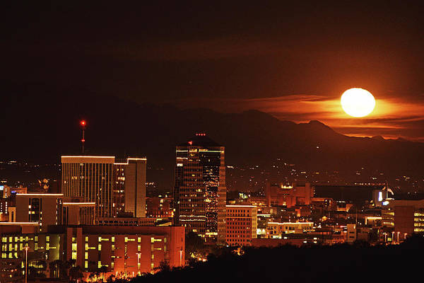 Photograph - Moonrise Over Tucson, Arizona by Chance Kafka