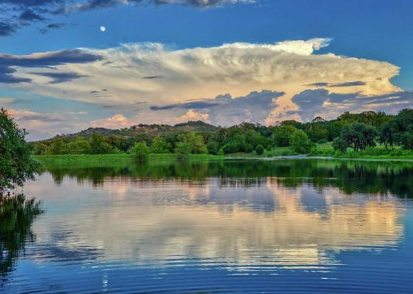 Photograph - Moonrise Reflections Over The Lake by Lynn Bauer