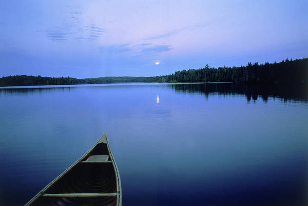 Canoe Photograph - Moonrise W Canoe, Boundary Waters, Mn by A & C Wiley/wales
