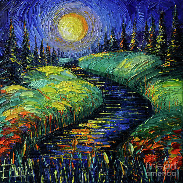 Wall Art - Painting - Moonscape Phantasmagoria Textured Impasto Palette Knife Oil Painting Mona Edulesco by Mona Edulesco