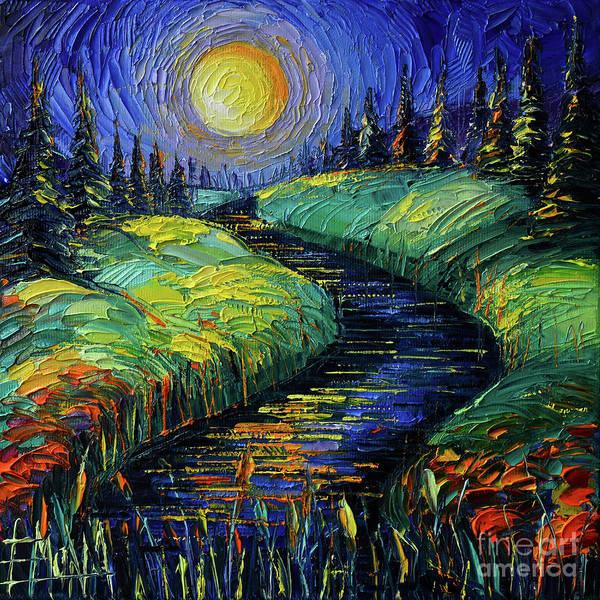 Full Moon Night Painting - Moonscape Phantasmagoria Textured Impasto Palette Knife Oil Painting Mona Edulesco by Mona Edulesco