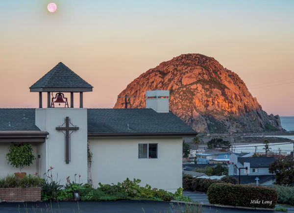 Moonset Above Morro Rock Art Print