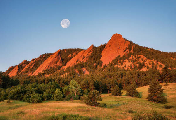 Wall Art - Photograph - Moonset Over The Flatirons by Darren White