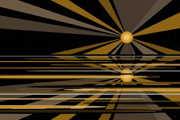 Wall Art - Digital Art - Moonshine In Black And Gold by Val Arie
