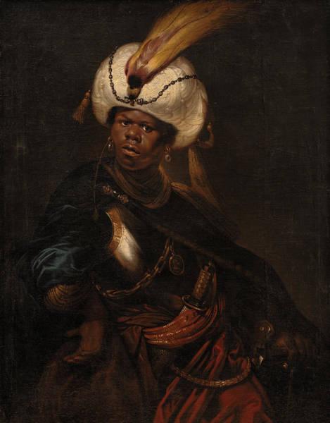 Moored Painting - Moor Wearing A Turban And Armour by Karel van III Mander