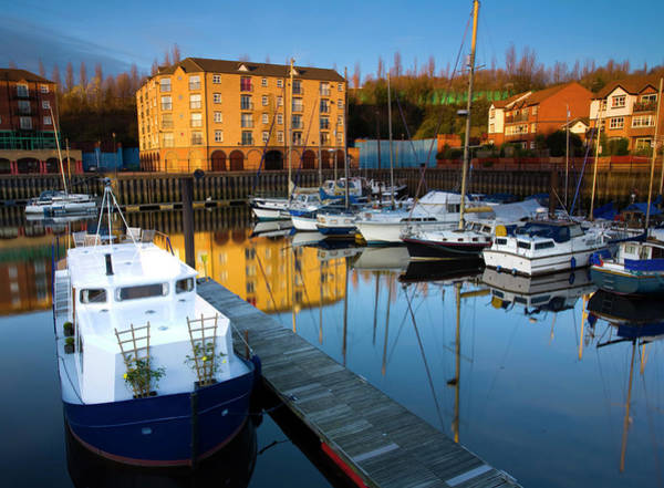 Newcastle Upon Tyne Photograph - Moored Boats In Marina, St Peters by Jason Friend