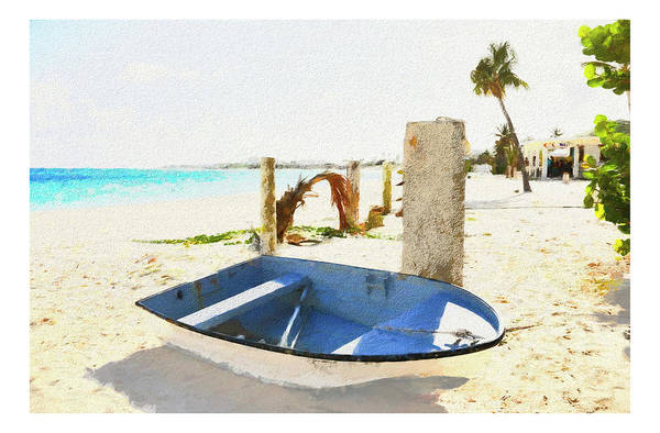 Photograph - Moored In The Sand In Anguilla by Ola Allen