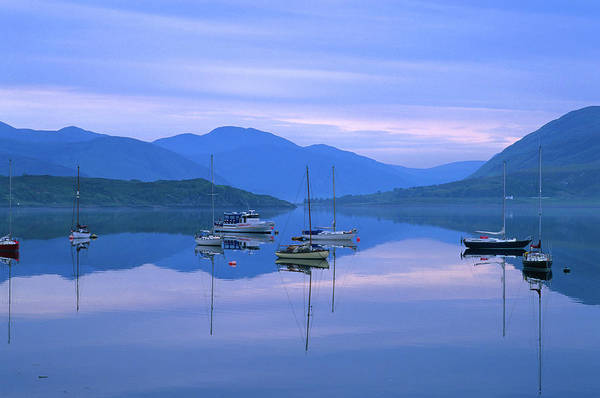 Wall Art - Photograph - Moored Yachts On Loch Broom, Ullapool by Grant Dixon